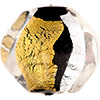 Black, Gold & Silver Foil Murano Glass Pebble Bead 25mm