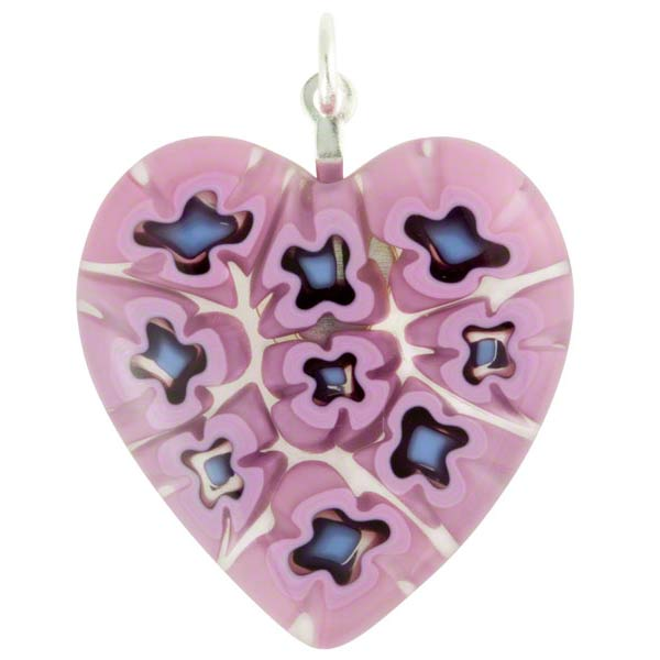 GlassOfVenice Murano Glass Millefiori Heart Pendant Medium Pink