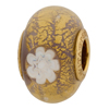 Large Hole Vermeil Insert Viola Daisy Round 14mm, Murano Glass Charm Bead