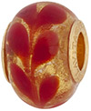 PerlaVita Fenicio Murano Glass Rondel, Red & Gold, 5mm Hole, Vermeil