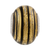 PerlaVita™ 24kt Gold Foil Murano Glass Rondel, Gold Striped Black, Sterling Inserts