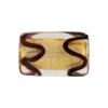 Gold Foil Rectangle 22mm Chocolate Piping, Murano Glass Bead