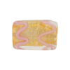 Gold Foil Rectangle 22mm Pink Piping, Murano Glass Bead