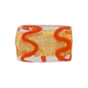 Gold Foil Rectangle 22mm Opaque Red Piping, Murano Glass Bead