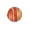 Striped Rubino Gold Foil 16mm Round Venetian Beads