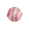 Striped Rubino Silver Foil Round 16mm Murano Glass Bead