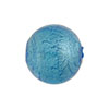 Light Aqua Silver Foil Round 16mm Murano Glass Bead