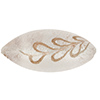 Scavo Textured Murano Glass Oval Bead, Crystal & Exterior White Gold, 32mm