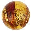 Sole Murano Glass Bead, Topaz, Light Topaz & Gold Foil Swirl, 14mm Round
