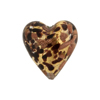 Speckled Heart 20mm Gold Foil Black Murano Glass Bead