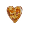 Speckled Heart 20mm Gold Foil Topaz Murano Glass Bead