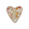 Speckled Heart 20mm White Gold Foil Rubino Murano Glass Bead