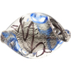 Blue Twist 40mm White Gold Lampwork Venetian Bead