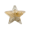 Gray Bicolor Star Gold Foil 21mm Murano Glass