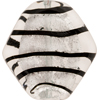 Black and Silver Foil Tigrato Diamond 34mm Murano Glass Bead