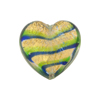 Emerald Cobalt Bicolor Striped Hearts 20mm Gold Foil Venetian Bead