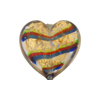 Emerald Red Cobalt Bicolor Striped Hearts 20mm Gold Foil Venetian Bead