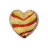 Red Green Bicolor Striped Hearts 20mm Gold Foil Venetian Bead