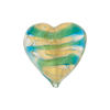 Marino Striped Gold Foil Tigrato Hearts 20mm Venetian Bead