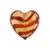 Red Striped Gold Foil Tigrato Hearts 20mm Venetian Bead