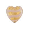 Opaque Pink Striped Gold Foil Tigrato Hearts 20mm Venetian Beads