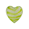 Green White Gold Tiger Stripes Heart 20mm