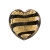 Gold Foil Murano Glass Heart Bead w/Black Stripes, 21mm