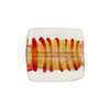 Red Tigrato Stripes Gold Foil Venetian Bead Rectangle 18x17mm