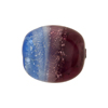 Blue Purple Silver Foil Murano Glass Bead Tricolor Flat Ovals 22mm