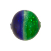 Emerald Cobalt Silver Murano Glass Tricolor Rounds 18mm
