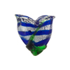Cobalt White Gold Foil Venetian Tulip Beads 20mm
