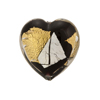 Vicenza Style Black with Gold and Silver Flat Heart Shaped Murano Glass Bead