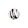 Murano Glass Animal Print Beads, Black & Silver Foil Zebra Round 14mm