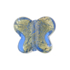 Murano Glass Bead Butterfly 24kt gold Foil 18mm, Blue Gold