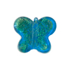 Murano Glass Bead Butterfly 24kt gold Foil 18mm, Aqua Gold