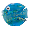Murano Glass Bead Fish Vertical Hole 40mm Aqua