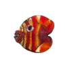 Murano Glass Lampwork Puffy Gold Fish Small Gold Foil Red
