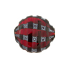 Murano Glass Bead Mouth Blown Red and Black Mosaic Sculpted 20mm Penny