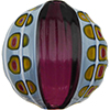 Murano Glass Bead Blown and Sculpted Disc 40mm Amethyst with Yellow Millefiori