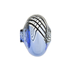 Blue with Black Lines Bicolor Blown Cipollina Murano Glass Bead