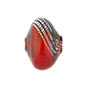 Red with Black Lines Bicolor Blown Mini Cipollina Murano Glass Bead