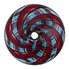 Aqua and Red with Black Lines Spiral Cipolla Blown Murano Glass Bead