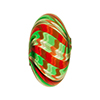 Red, Green and Aventurina Colors Spiral Cipollina Blown Murano Glass Bead 15mm