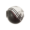 Black, Clear Murano Glass Blown Beads Biclor Filigrana Swirl 20mm