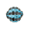 Murano Glass Bead Mouth Blown Aqua and Black Mosaic Sculpted 20mm Round