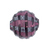 Murano Glass Bead Blown Amethyst with Black Mosaic Sculpted 20mm Round