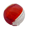 Red with White Filigrana Venetian Glass Blown Swirl Bead, Round, 20mm