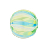 Emerald & Aqua Clear Straight Lines Venetian Blown Bead, Round, 20mm