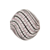 Spiral Pink, Black, & Aventurina Blown Murano Glass Diamond Bead, 20mm