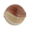 Rust and Ivory Blown Murano Glass Flat Round Bead, Double Layer, 25mm